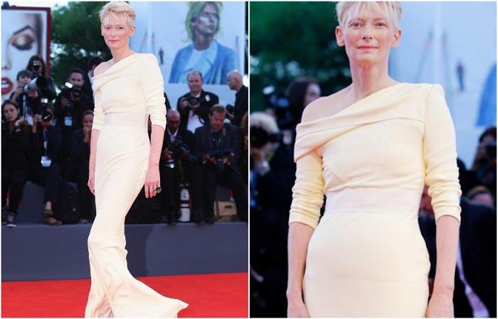 Тильда Суинтон в бледно-желтом платье от Хайдера Аккермана
