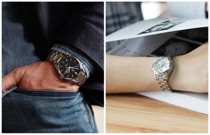 Мужские часы делают женскую руку изящной