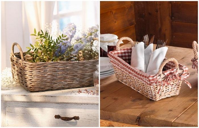 Плетеные корзины используются для декора и хранения
