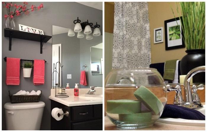 Яркие акценты делают ванную комнату более интересной