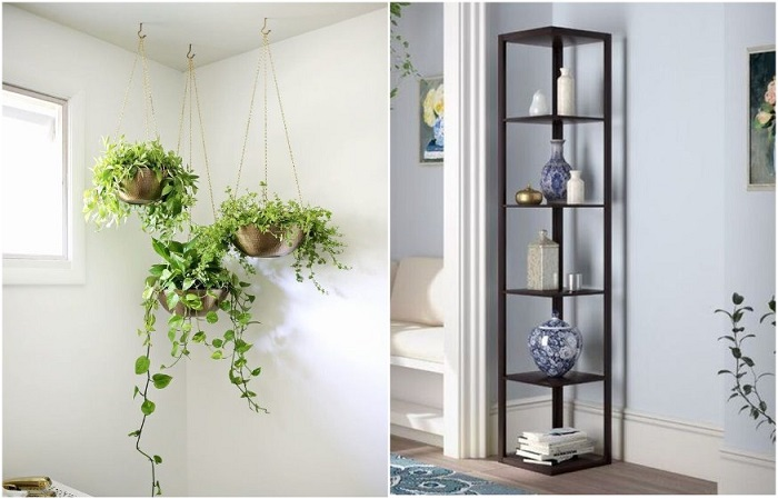В углу можно разместить стеллаж или повесить кашпо с цветами