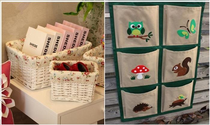 Тканевые органайзеры для книг можно сделать своими руками, а корзины продаются в специализированных магазинах