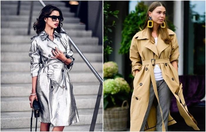 В моде как классические тренчи, так и с глянцевой поверхностью