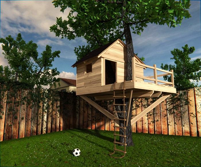 Своими руками можно сделать для деток домик на дереве. / Фото: yellowhome.ru