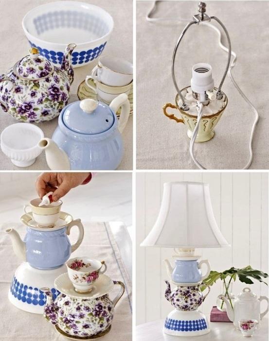 Если склеить чашки между собой, можно получить необычную ножку для лампы. / Фото: Pinterest.nz