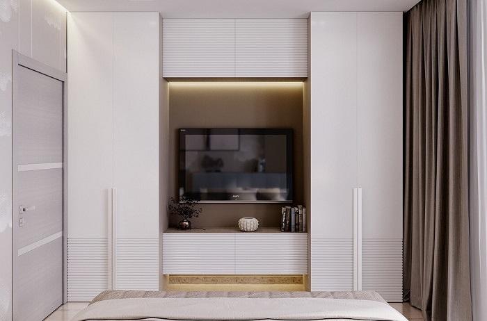 Шкаф в цвет стен зрительно растворится в пространстве. / Фото: comfortoria.ru