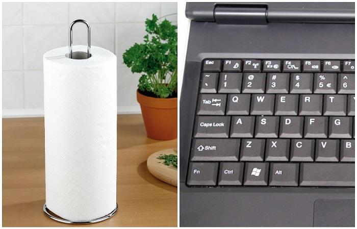Частички полотенца застревают между клавишами