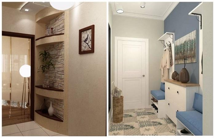 Стены коридора можно украсить картинами или зеркалами