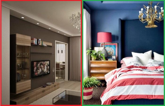 Синий с красным смотрятся гораздо интереснее, чем коричневый с бежевым