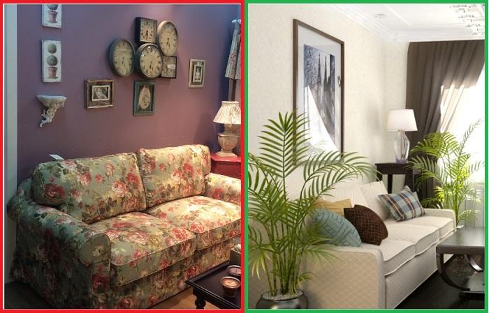 Однотонный диван с контрастными подушками лучше, чем разноцветный