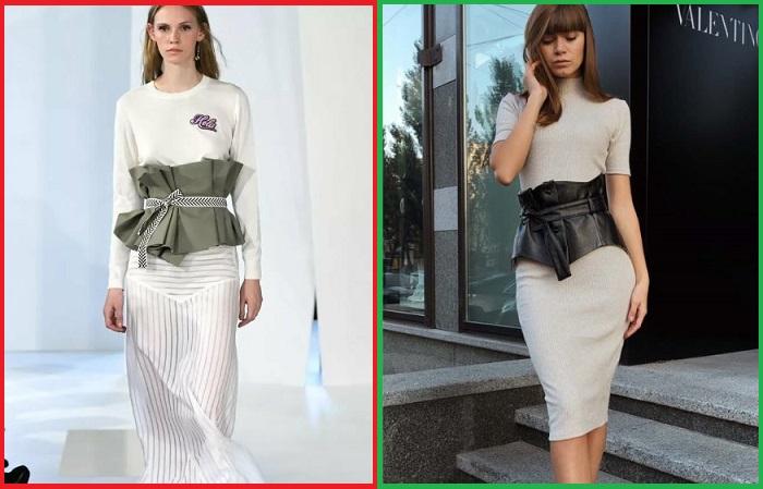 Пояс с баской красиво смотрится в тандеме с обтягивающим платьем