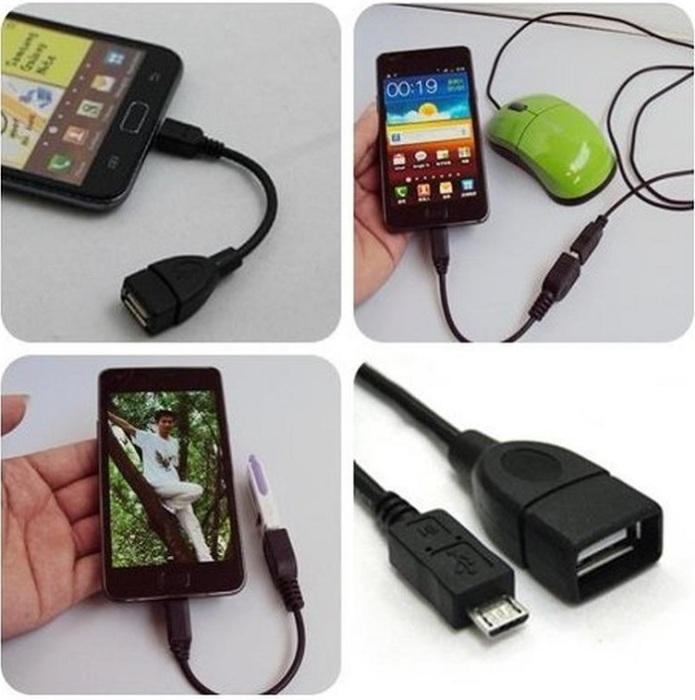 Через адаптер к телефону можно подключить флешку или мышку. / Фото: izi.ua