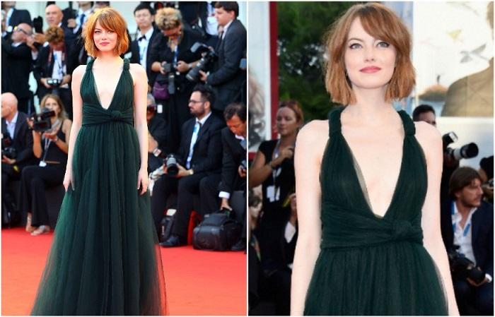 Эмма Стоун в изумрудном платье с глубоким декольте от Valentino
