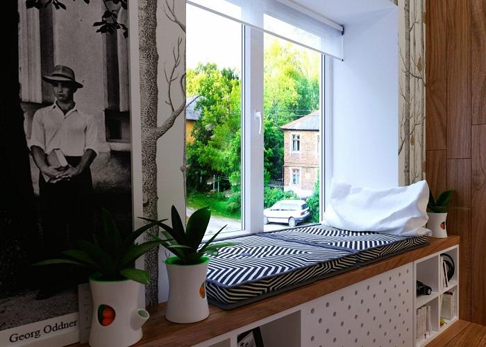 На подоконнике можно оформить зону для релакса. / Фото: Roomester.ru
