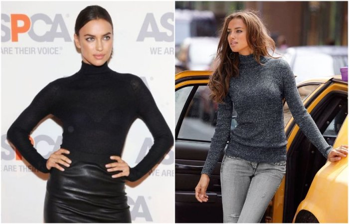 Ирина Шейк в повседневной жизни часто носит темную водолазку в комплекте с юбкой или джинсами