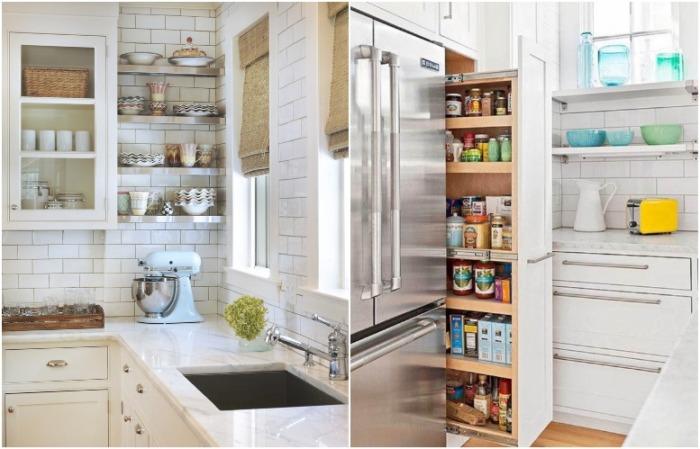 Открытые полки и выдвижная секция - беспроигрышные варианты хранения на кухне