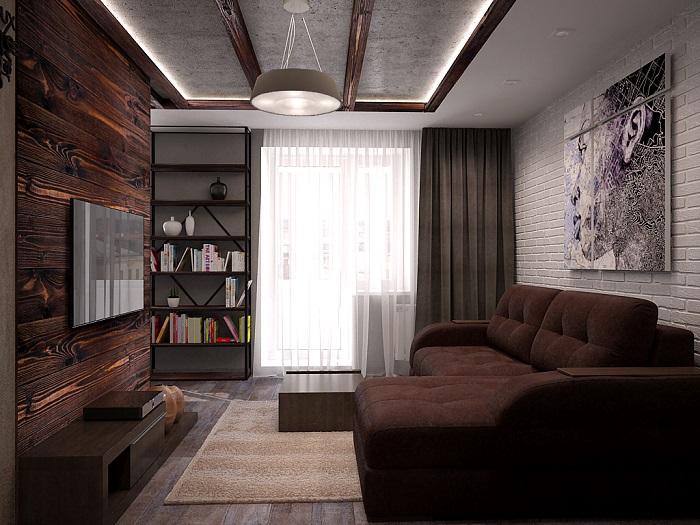 Темная цветовая гамма делает комнату похожей на коморку. / Фото: dizainvfoto.ru
