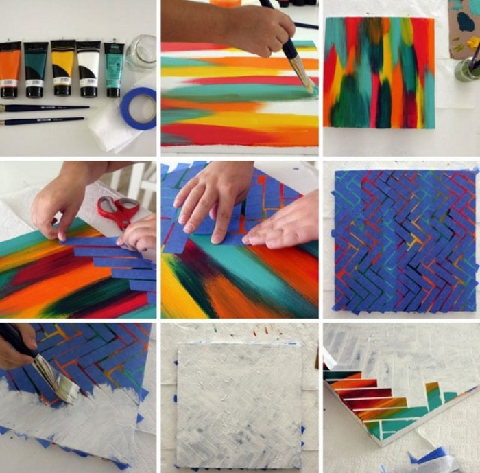 Этапы создания картины своими руками. / Фото: Dizainvfoto.ru