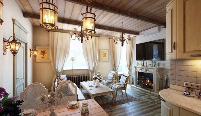 В одной комнате присутствует сразу несколько разновидностей светильников. / Фото: designmyhome.ru