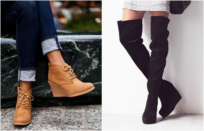 Можно выбрать высокие сапоги или ботинки на платформе