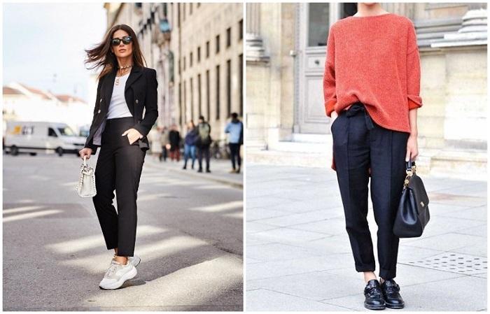 Прямые брюки хорошо смотрятся с кроссовками или обычным свитером