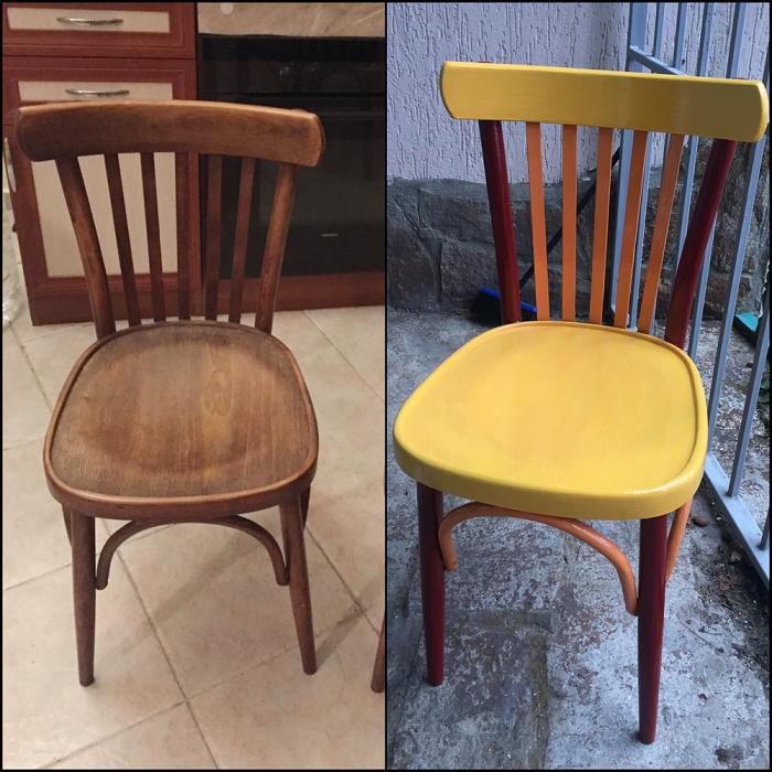 Покрасьте старый стул и он сразу изменит свой вид. / Фото: zen.yandex.ru