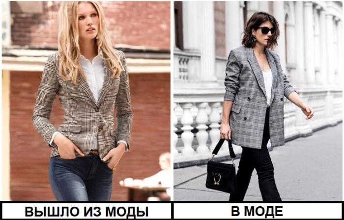 В моде объемные пиджаки в клетку в мужском стиле