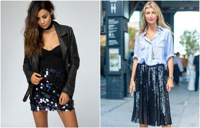Мини-платье с блестками уместно вечером, а юбка с пайетками - днем