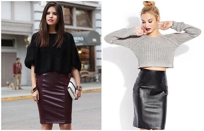 Короткий свитер нужно сочетать только с юбкой с завышенной талией