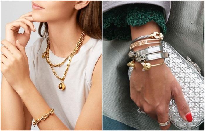 Золотые и серебряные украшения должны быть в одном стиле