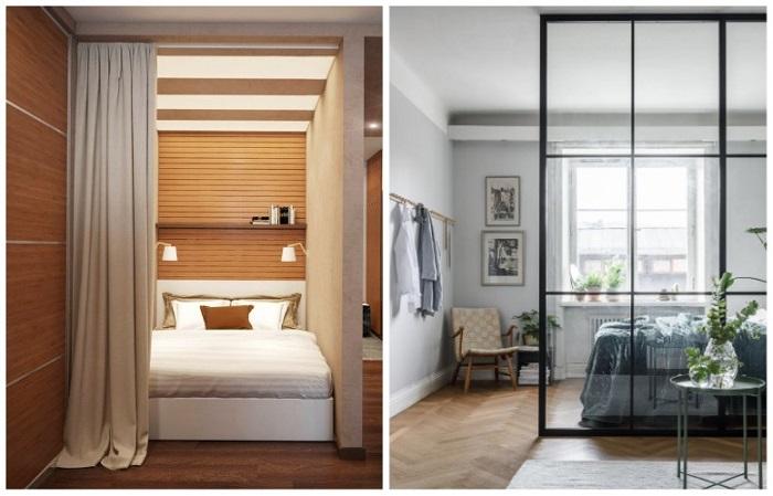 В Швеции для зонирования используют шторы и стеклянные перегородки