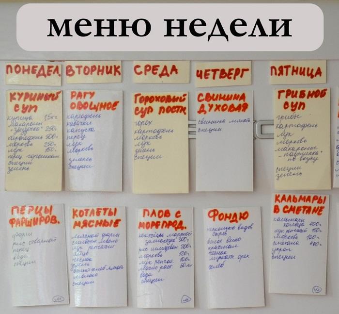 Разработайте меню на неделю и повесьте на холодильник. / Фото: heaclub.ru