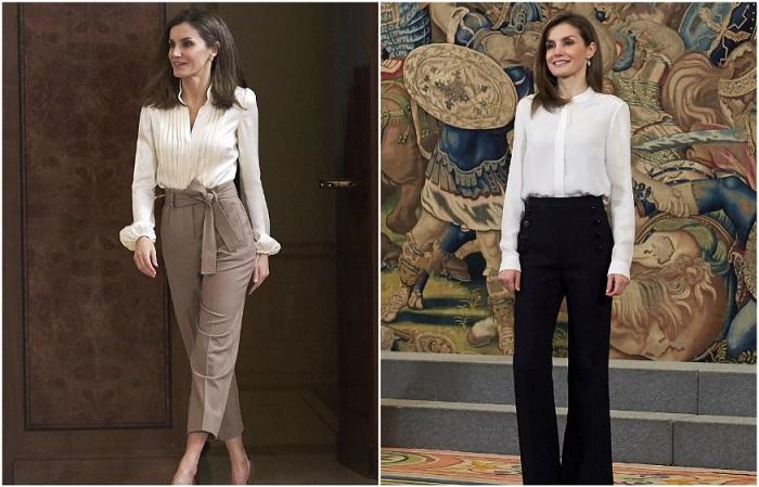 Королева Летиция в классических брюках с завышенной талией