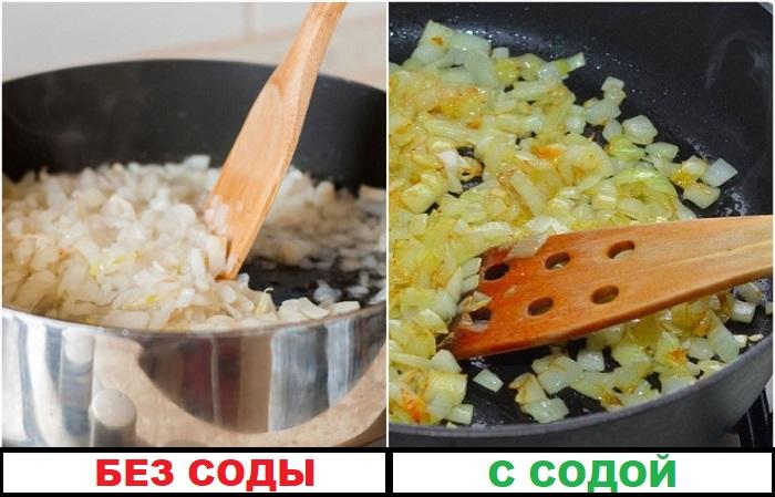 Если добавить соду, лук быстрее станет золотистым