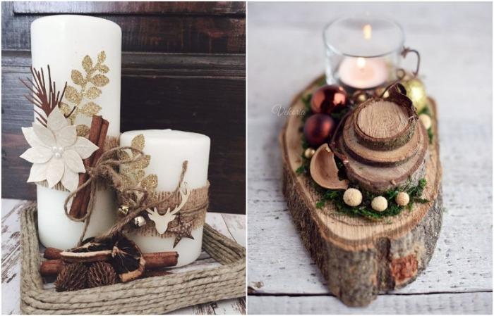 Своими руками можно оформить свечу или оформить композицию на срезе дерева