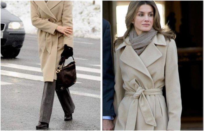 Королева Летиция в пальто и классических брюках