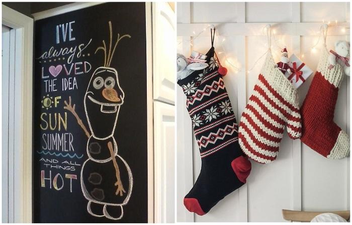 Рисунок на грифельной доске и носки с подарками создают новогоднюю атмосферу