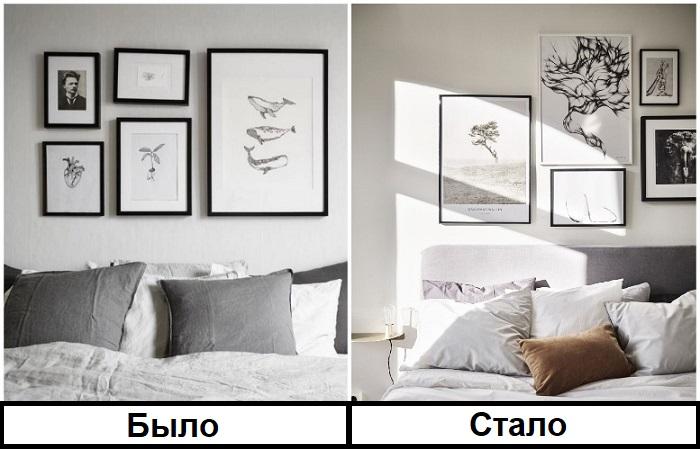 Картины выглядят более стильно, если висят в хаотичном порядке