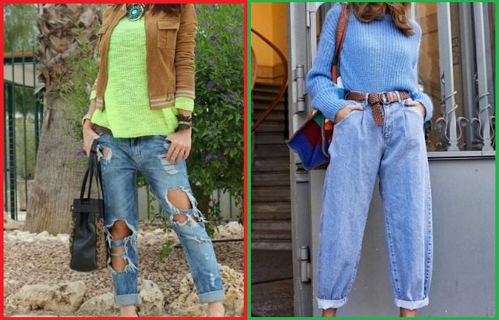 Вместо джинсов с дырами лучше  выбирать классические момы или бойфренды.