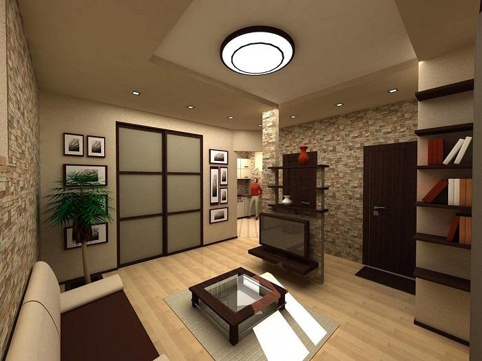 Лучше объединить гостиную с кухней, чем с коридором. / Фото: mykaleidoscope.ru