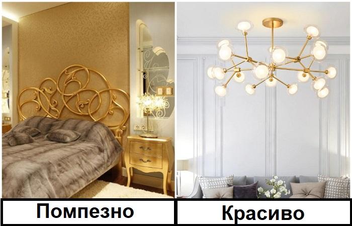 Золотых элементов в интерьер должно быть в меру