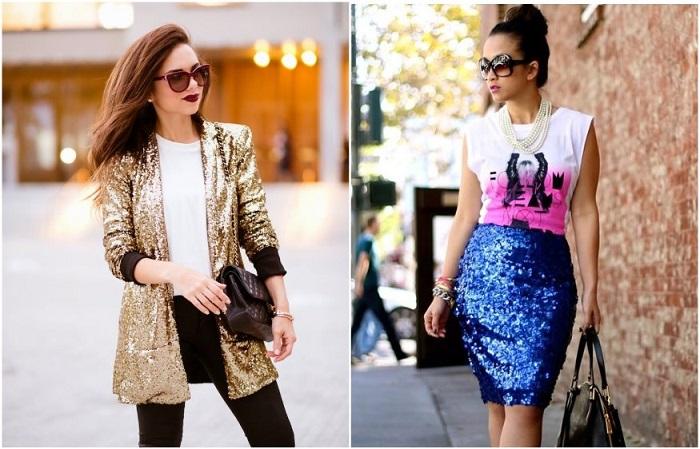 Пиджак и юбка, украшенные пайетками