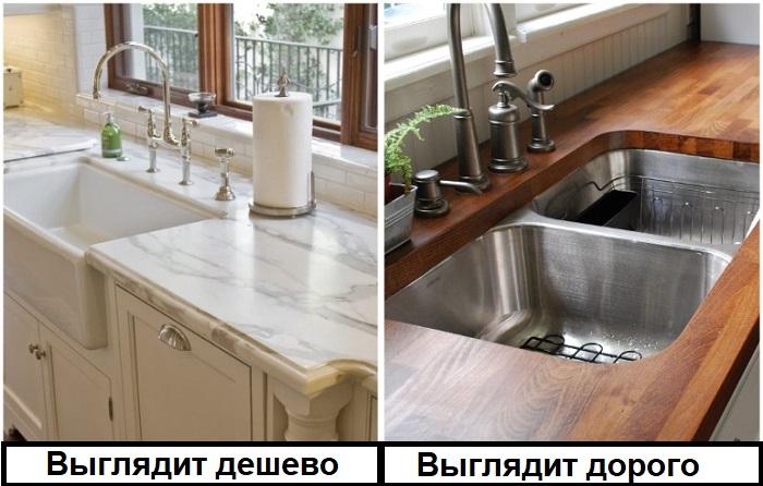 Вместо мраморной кухонной столешницы лучше установить деревянную