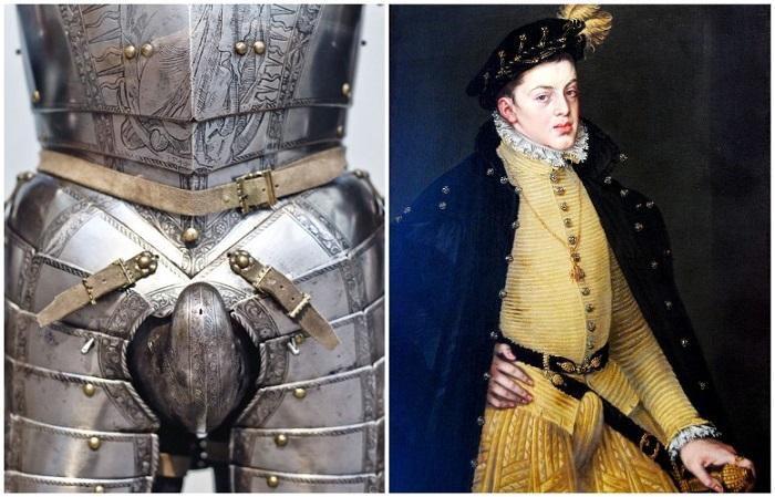 Из рыцарских доспехов гульфик перекочевал в мужской костюм