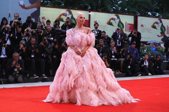 Леди Гага в розовом платье из перьев от Valentino. / Фото: pinterest.ca