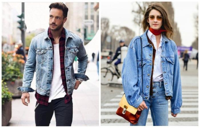 Мужские джинсовые куртки смотрятся на девушках объемно, чего и требует мода