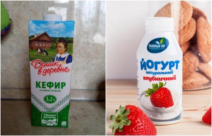 Кефир заменяется молоком с уксусом, йогурт - сметаной