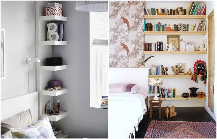 Обязательно размещайте на стенах полки для хранения