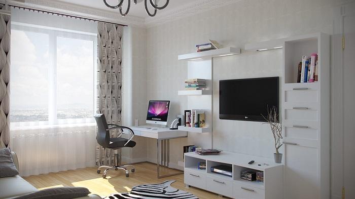 Белые стены и стол такого же цвета идеально впишутся в любой интерьер. / Фото: bazazakonov.ru
