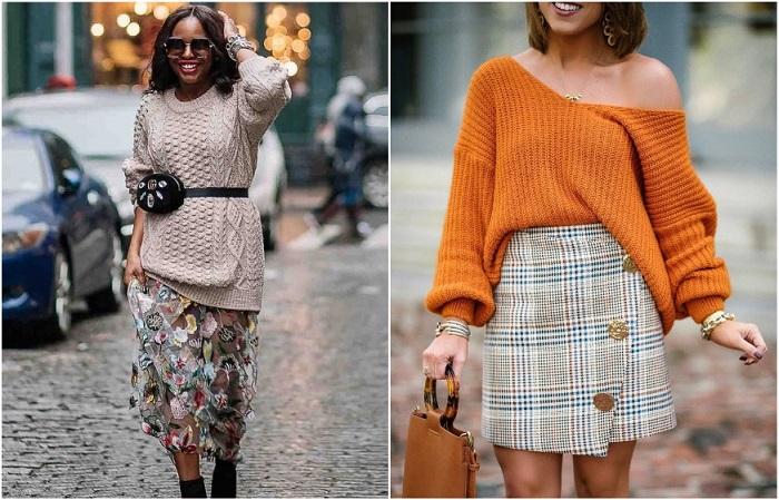 Подчеркнуть талию можно поясом, или заправив свитер в юбку спереди